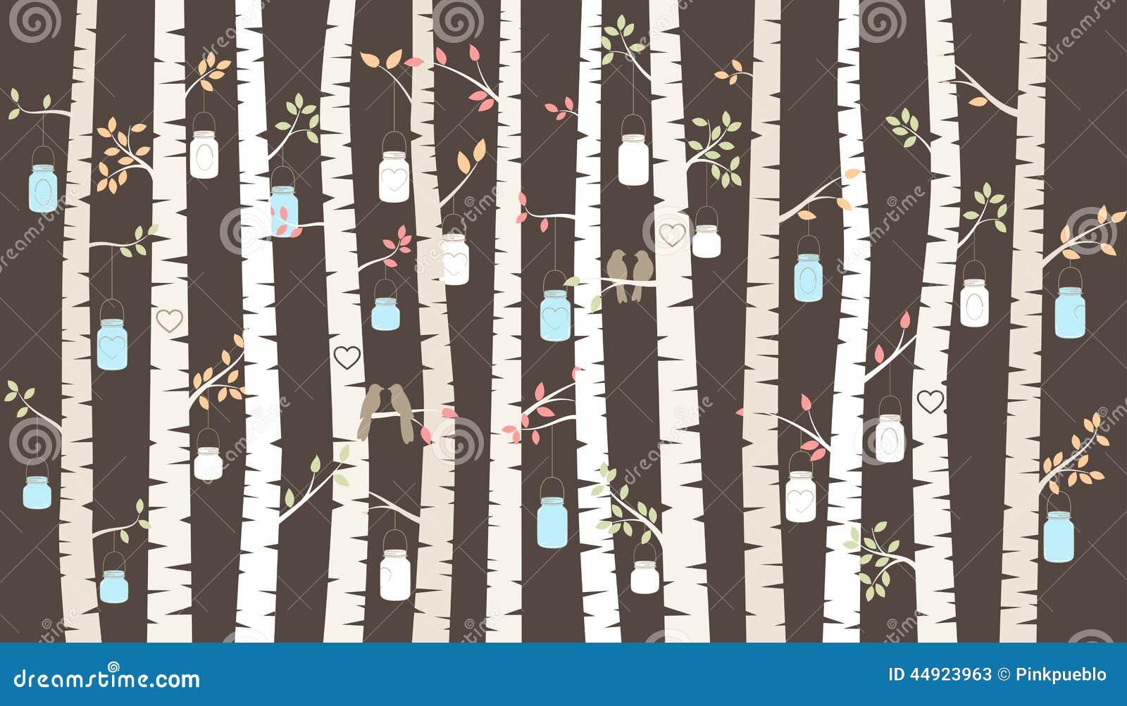 Abedul o Aspen Trees del vector con el colgante de los pájaros de Mason Jars y del amor