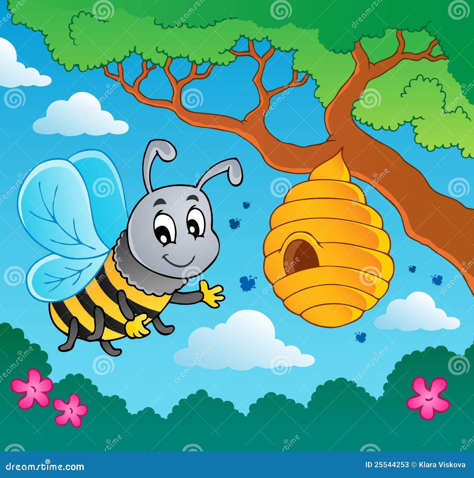 Abeille de dessin anim avec la ruche photos stock image - Dessin de ruche d abeille ...