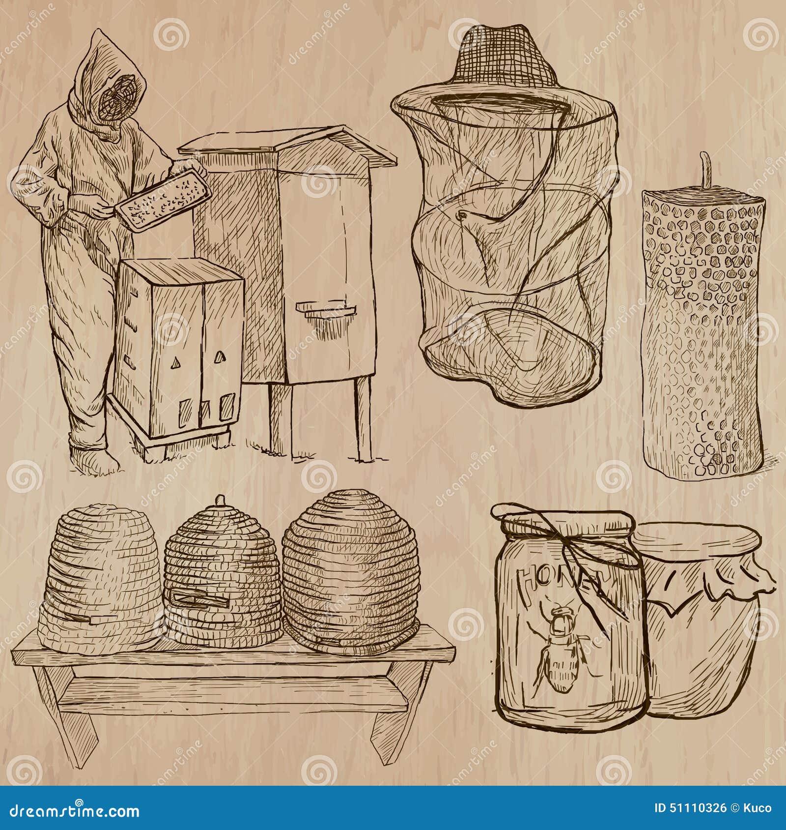 Abeilles, apiculture et miel - paquet tiré par la main 10 de vecteur