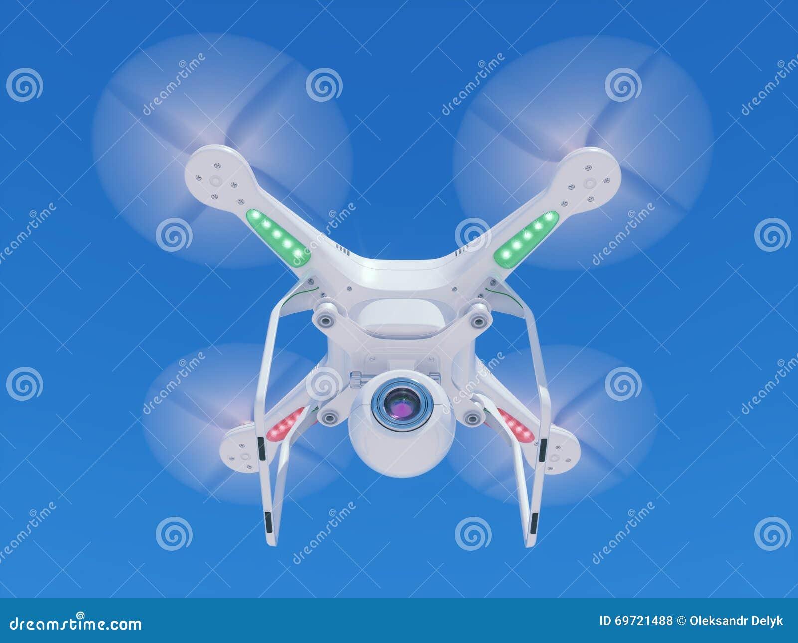 Abejón del vuelo con una cámara de vídeo en el cielo