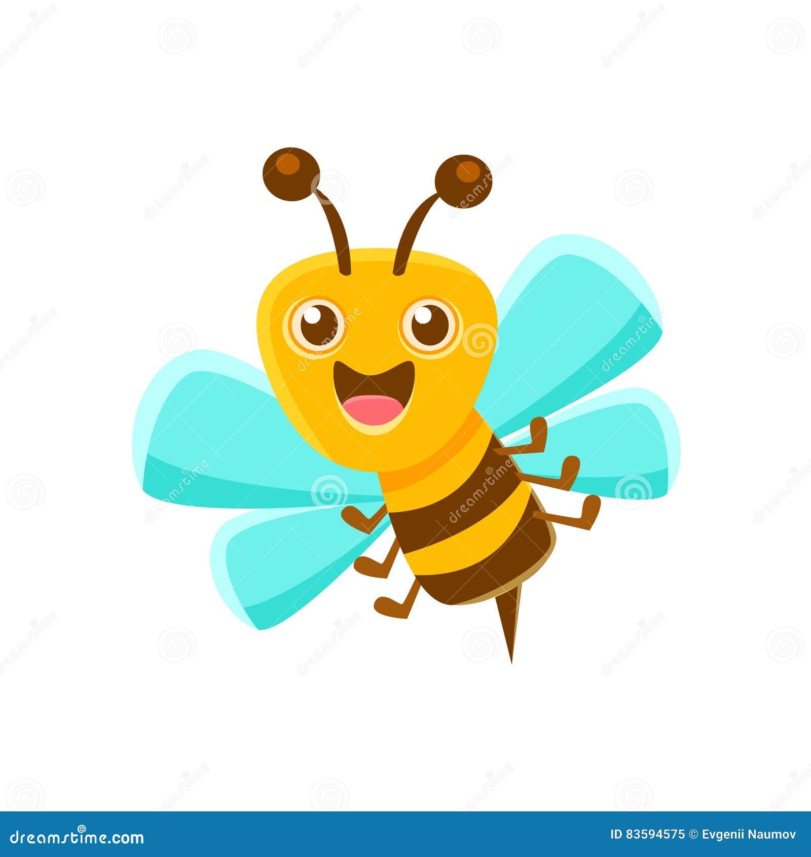 Abeja feliz Mid Air con Sting, Honey Production Related Carton Illustration natural