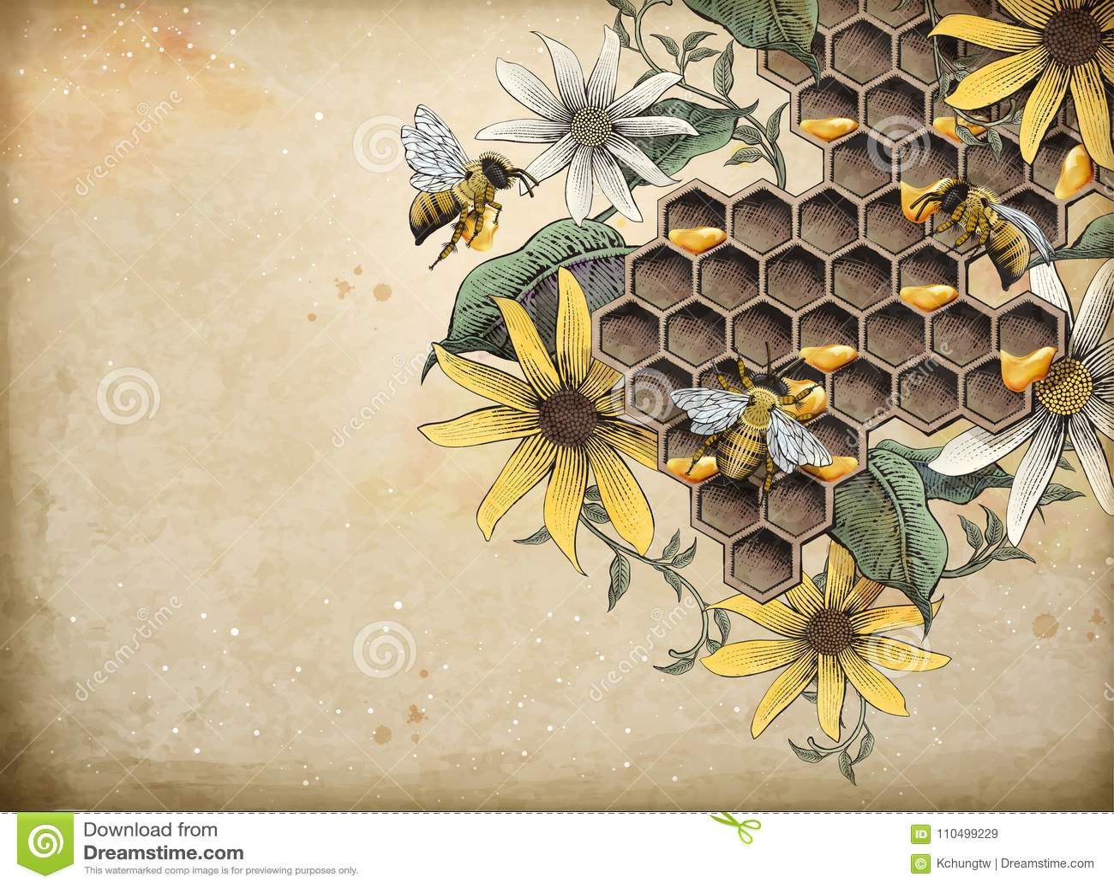 Abeja y colmenar de la miel
