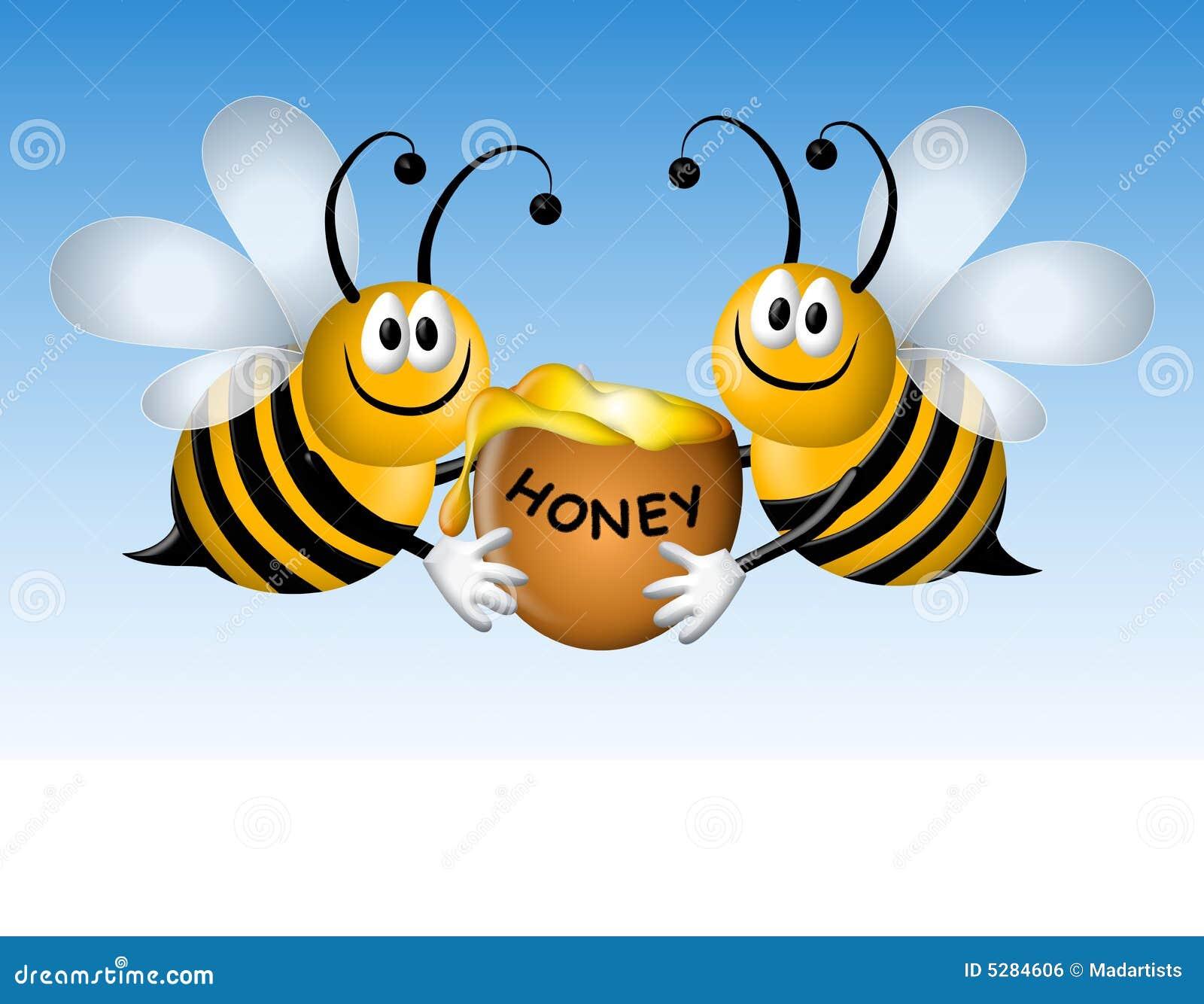 Abejas ocupadas de la historieta con la miel