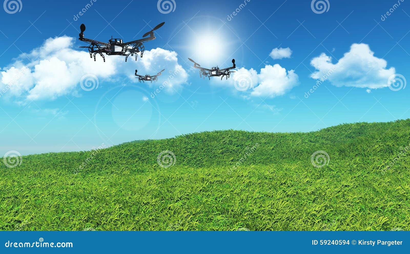 Abejones 3D que vuelan en un paisaje herboso