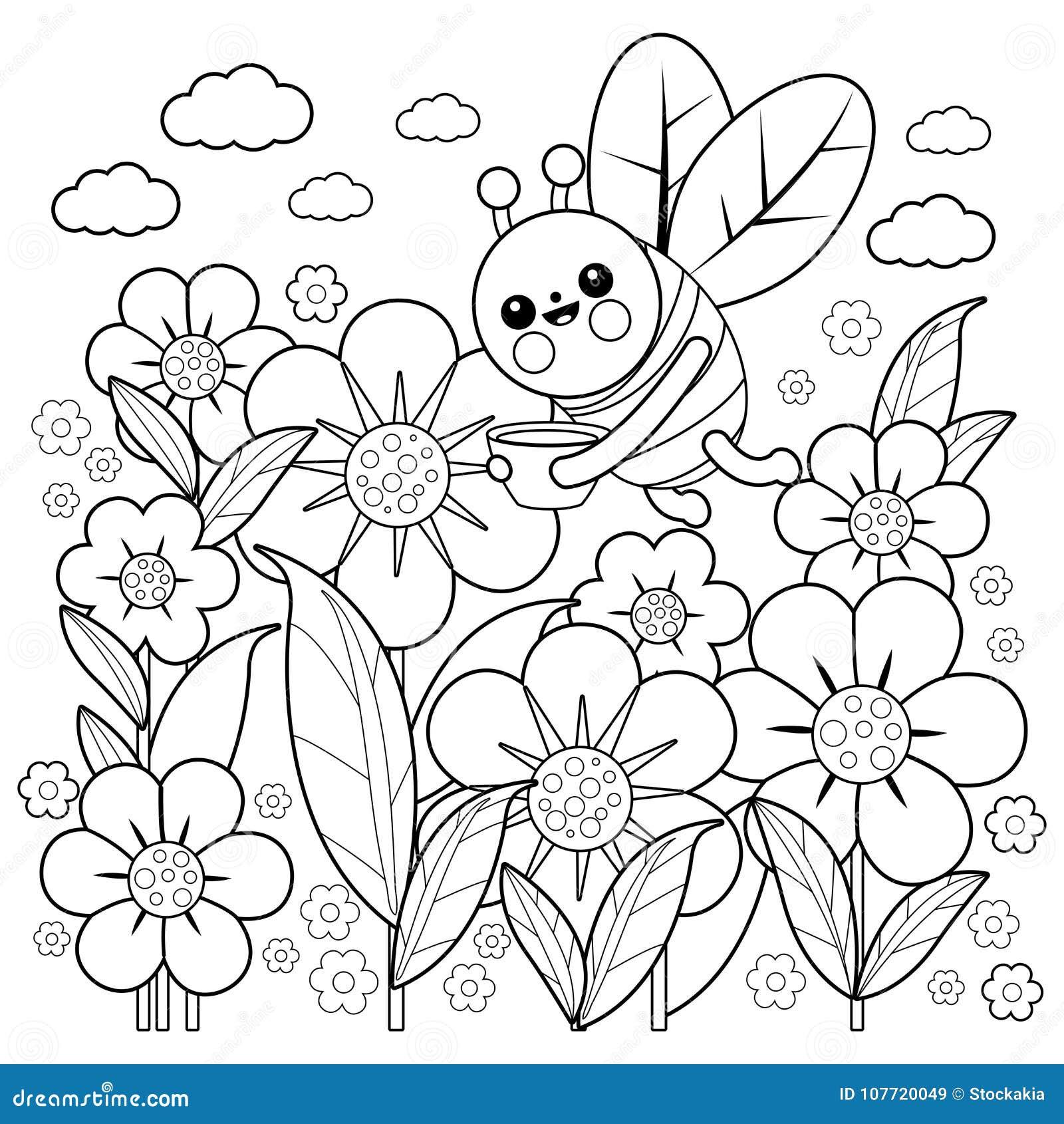 Abelha E Flores Pagina Do Livro Para Colorir Ilustracao Do Vetor