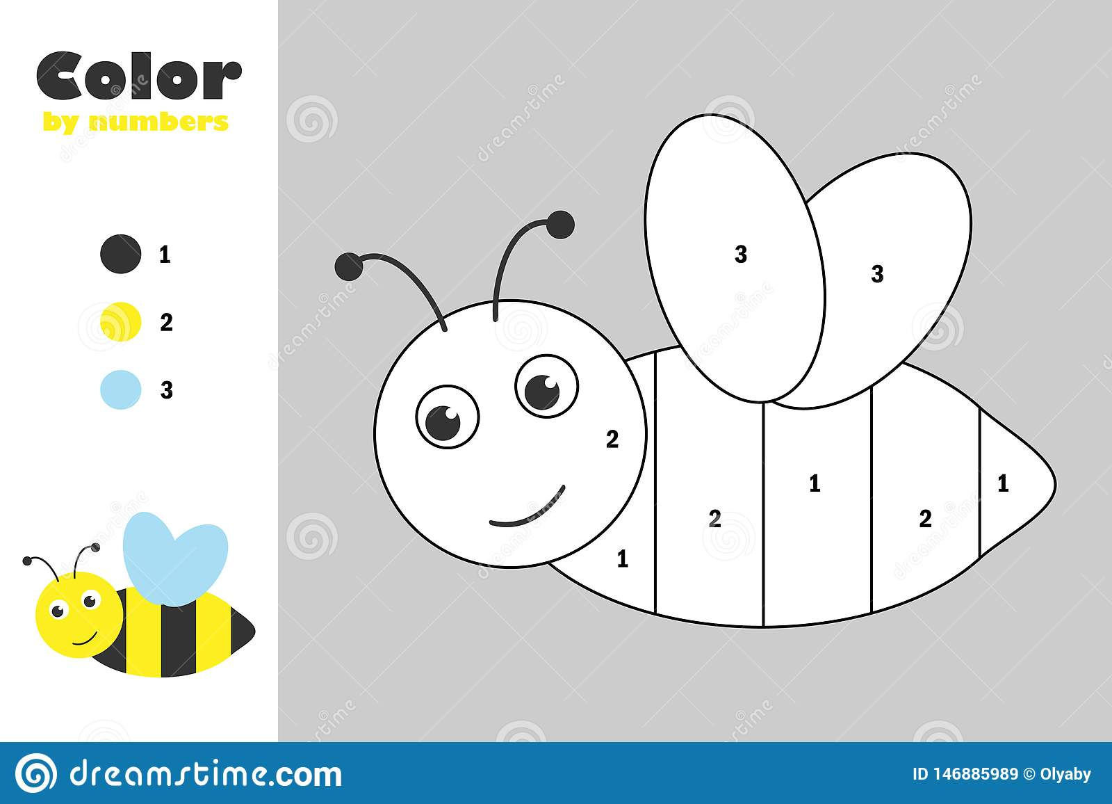 Abelha no estilo dos desenhos animados, cor pelo número, jogo do papel da educação para o desenvolvimento das crianças, página co
