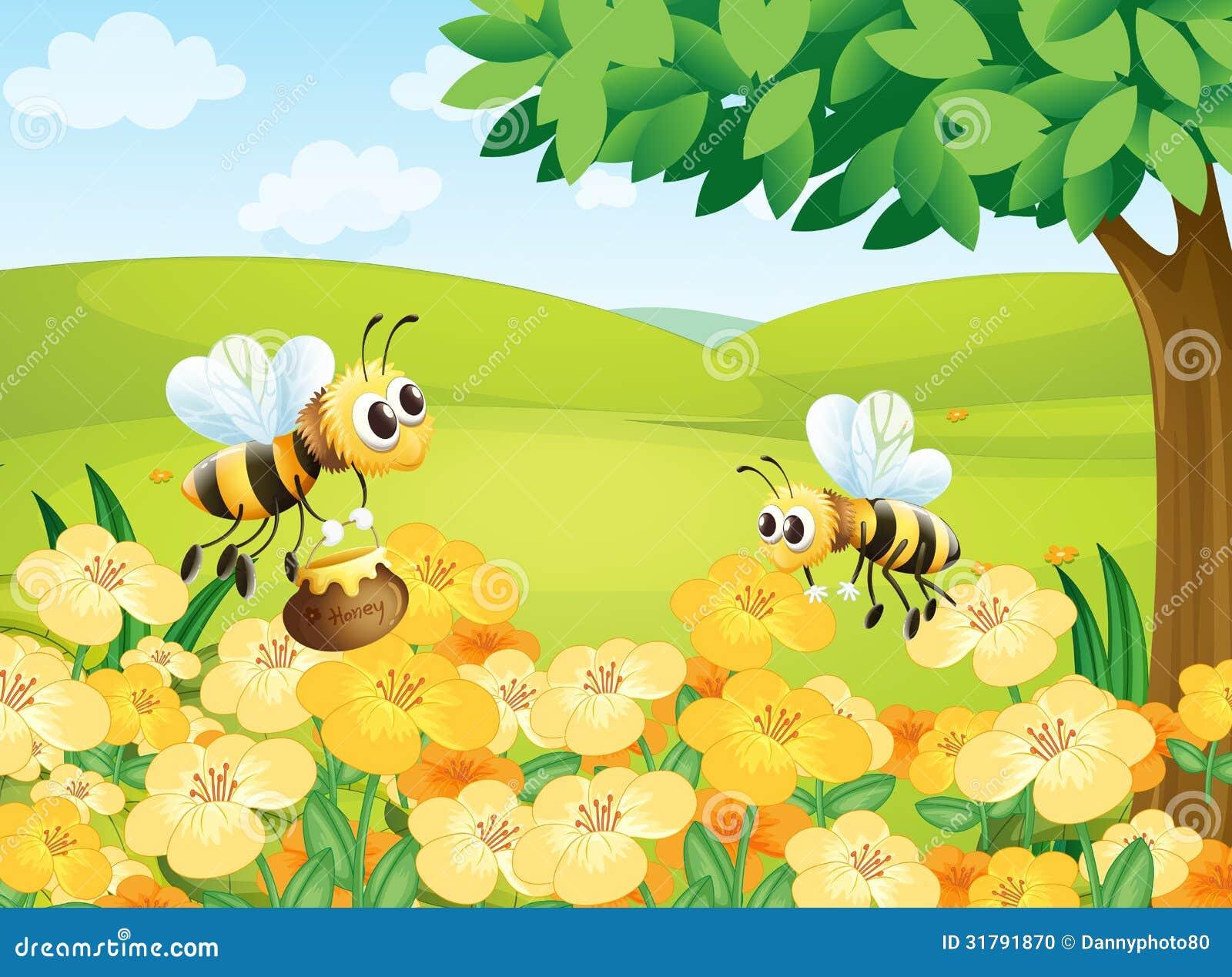 Abelhas que procuram alimentos