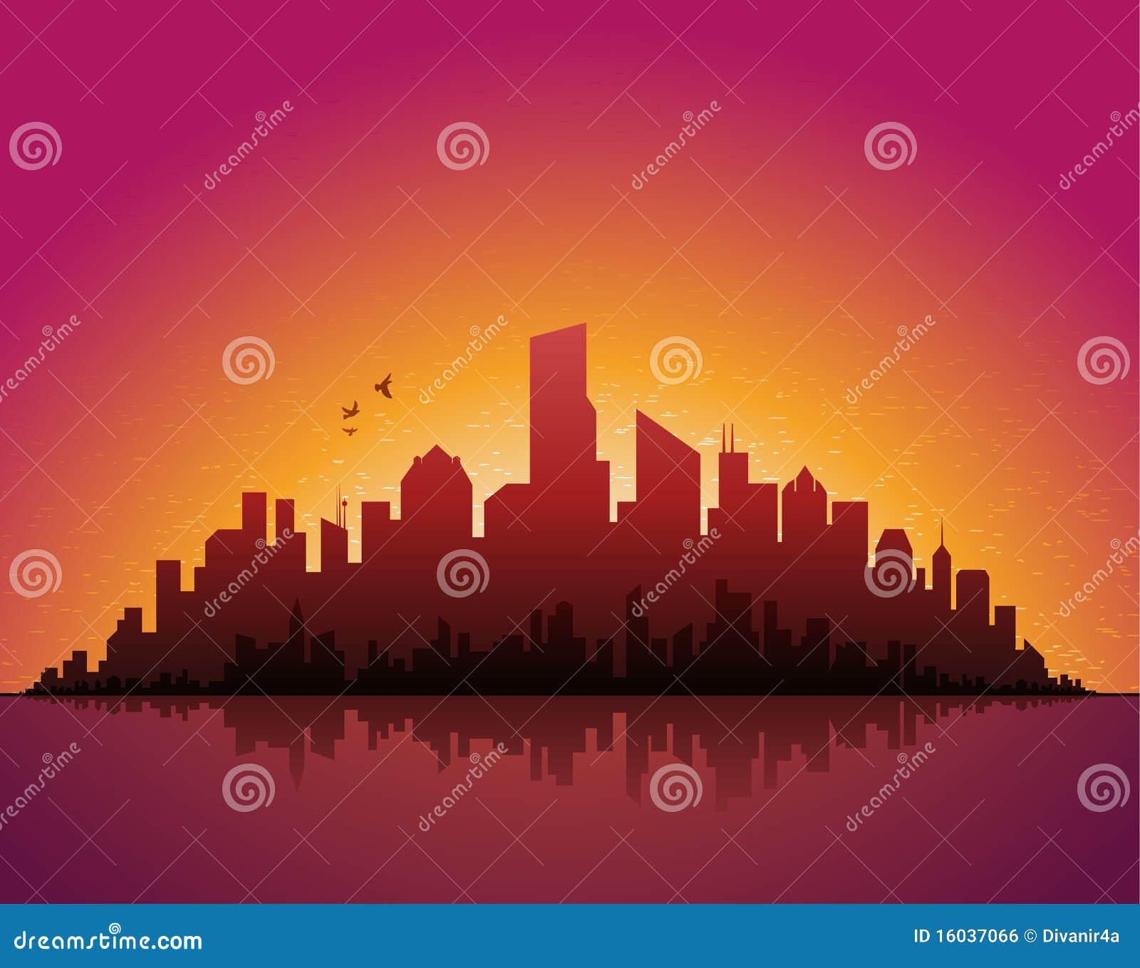 Abend-Stadtbild