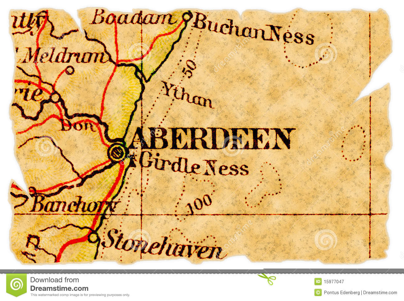 Aberdeen old map stock image  Image of destination, maps - 15977047