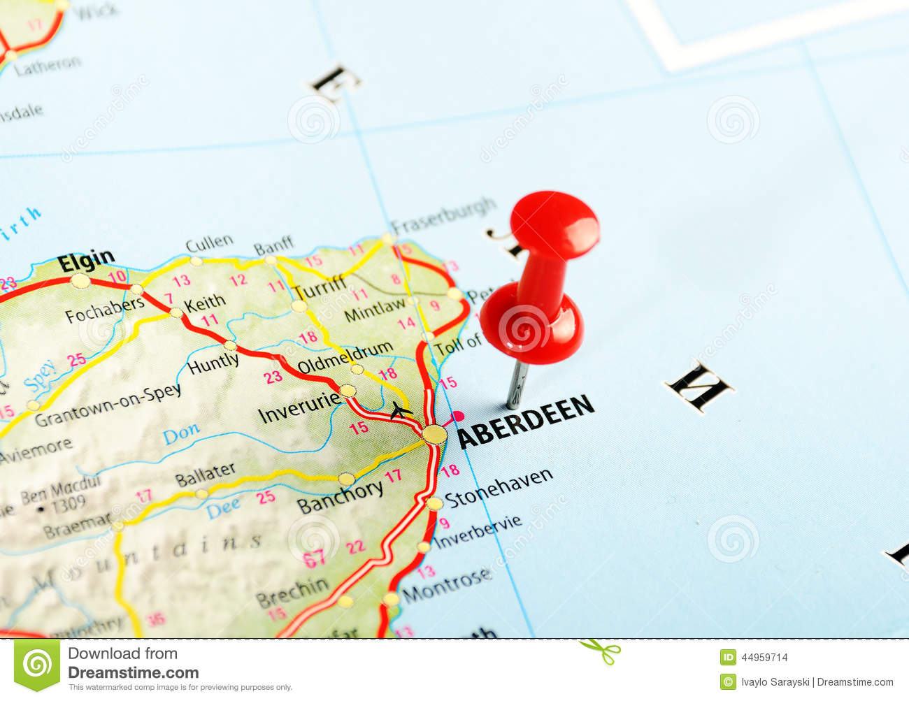 Aberdeen United Kingdom  City pictures : Aberdeen Scotland ,United Kingdom map and pin Travel concept.
