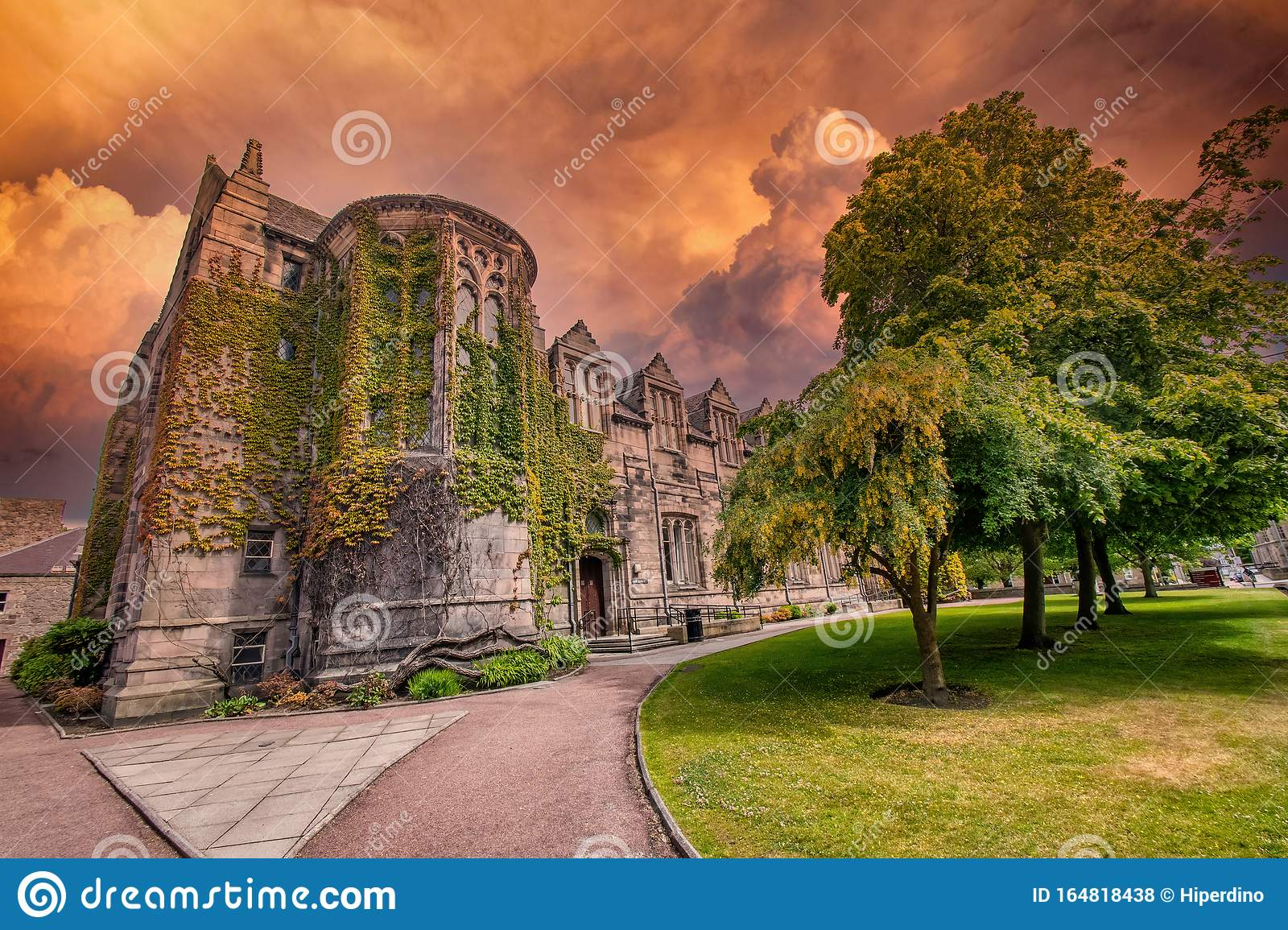 Aberdeen University King`s College building before storm .This is the oldest university in Aberdeen