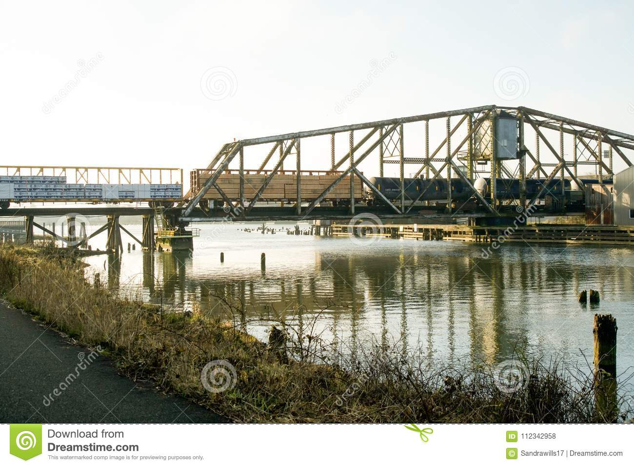 Aberdeen, Washington / USA - March 10, 2018: The Puget Sound & Pacific Railroad Wishkah River Bridge is an important part of Grays