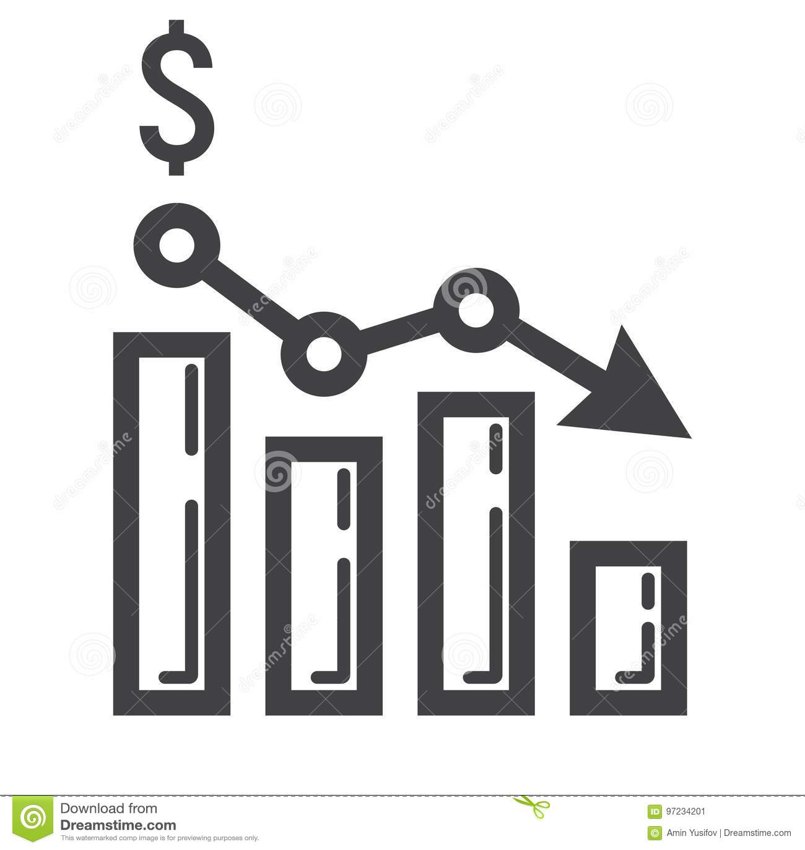 Abfallendes Diagramm Zeichnen Ikone, Geschäft Und Finanzierung ...