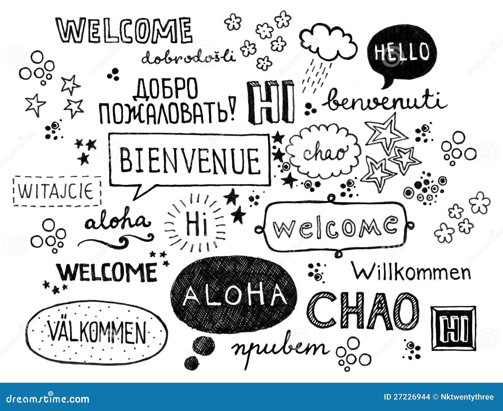 Herzlich Willkommen Verschiedene Sprachen