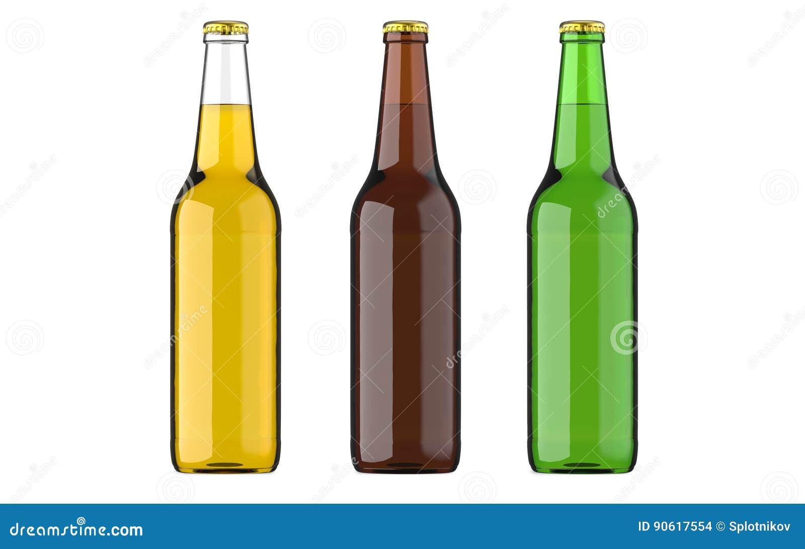 Abgefülltes Biergelb, Grün Und Browncolors Oder Getränk Oder ...