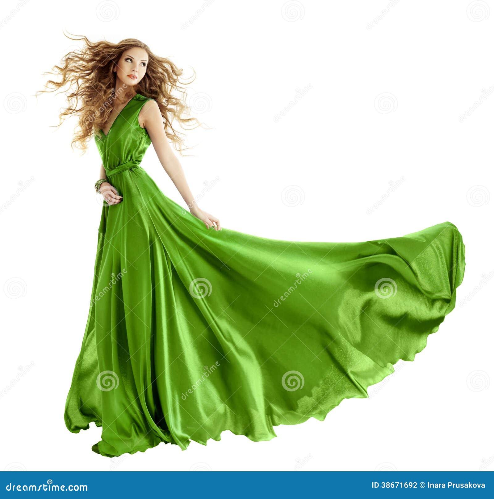 044a5bc9060b Donna in abito di verde di modo di bellezza