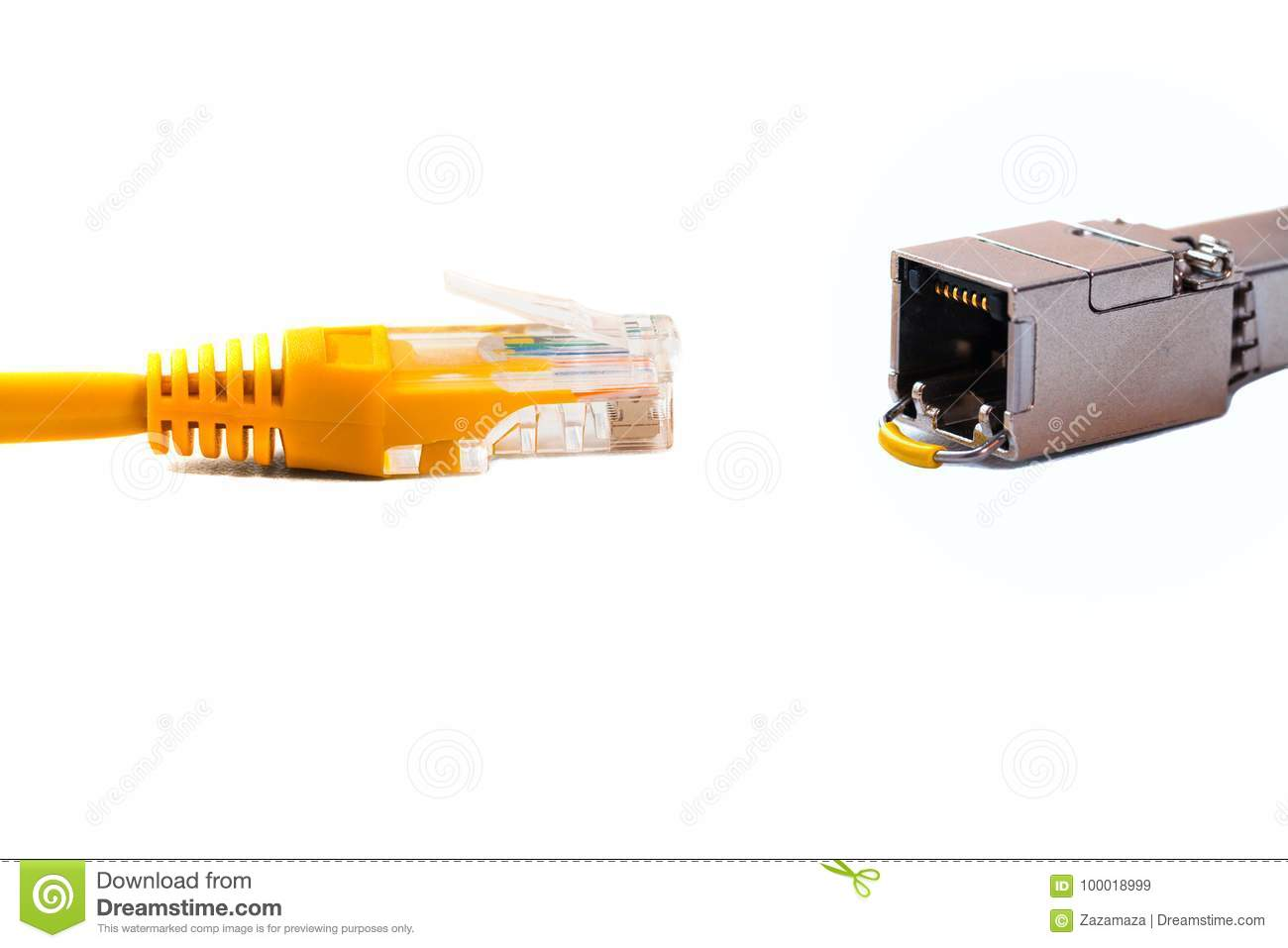 Сable Head Into Head Rj45 Of An Ethernet Wire Cable Or Yellow Patch ...