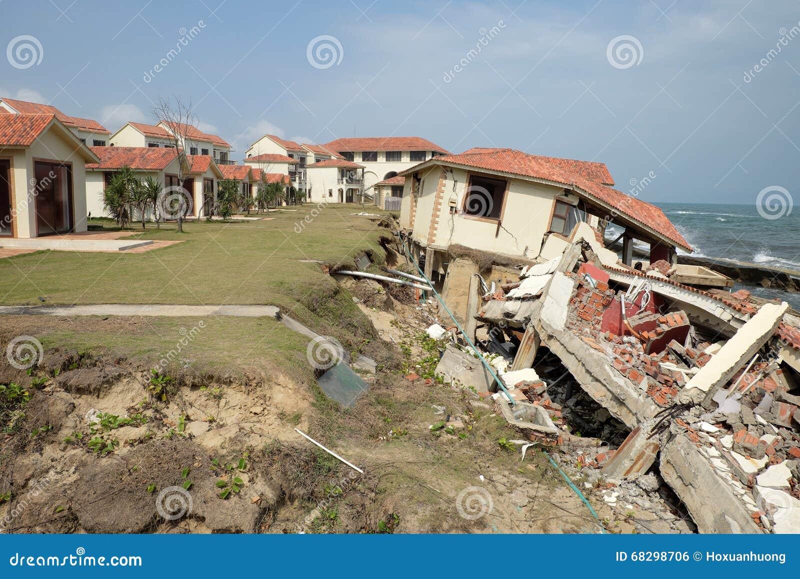Abnutzung, Klimawandel, gebrochenes Gebäude, Hoi An, Vietnam