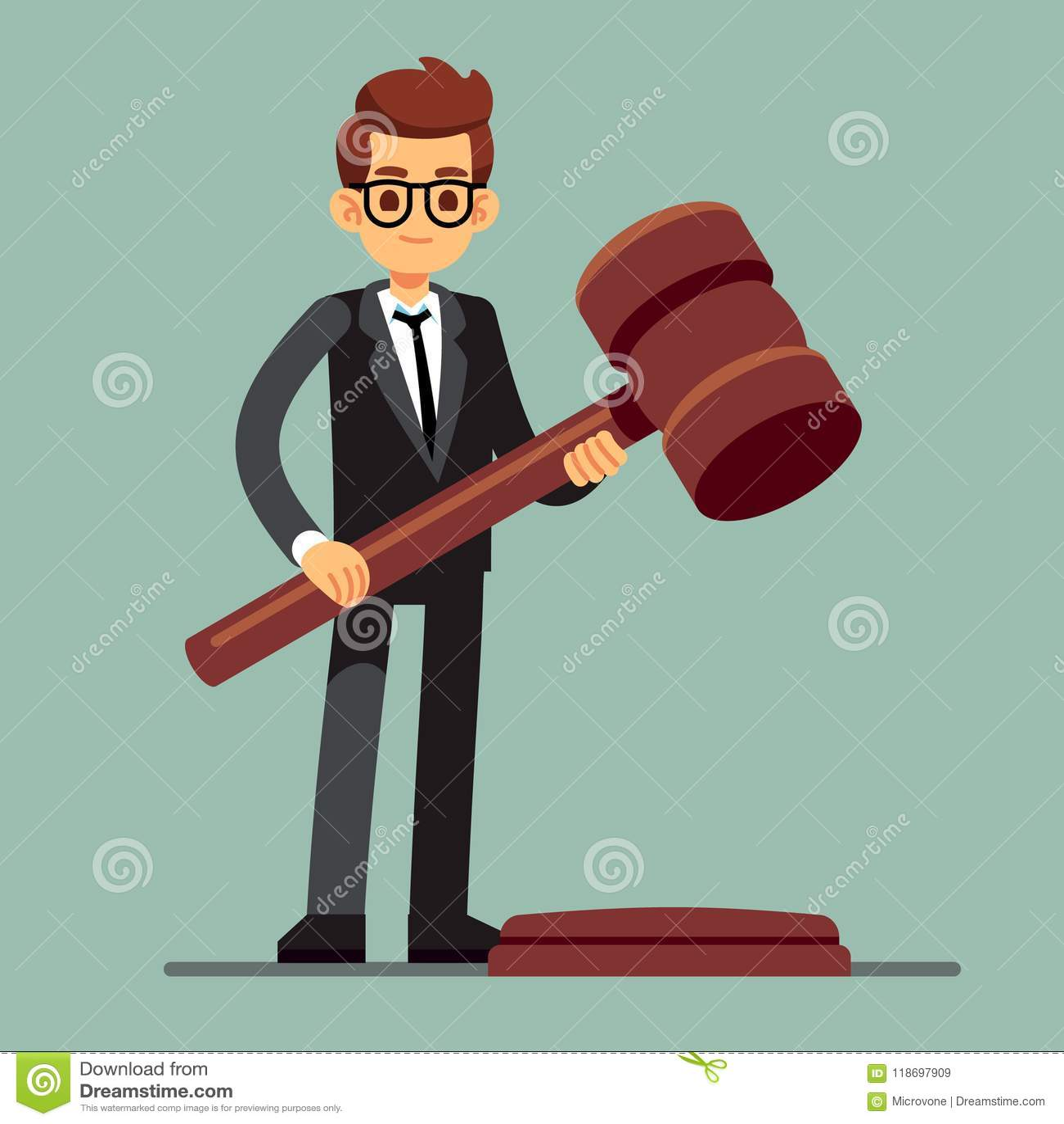 Abogado del negocio que sostiene el mazo de madera del juez Veredicto legal, concepto del vector de la autoridad de la legislació