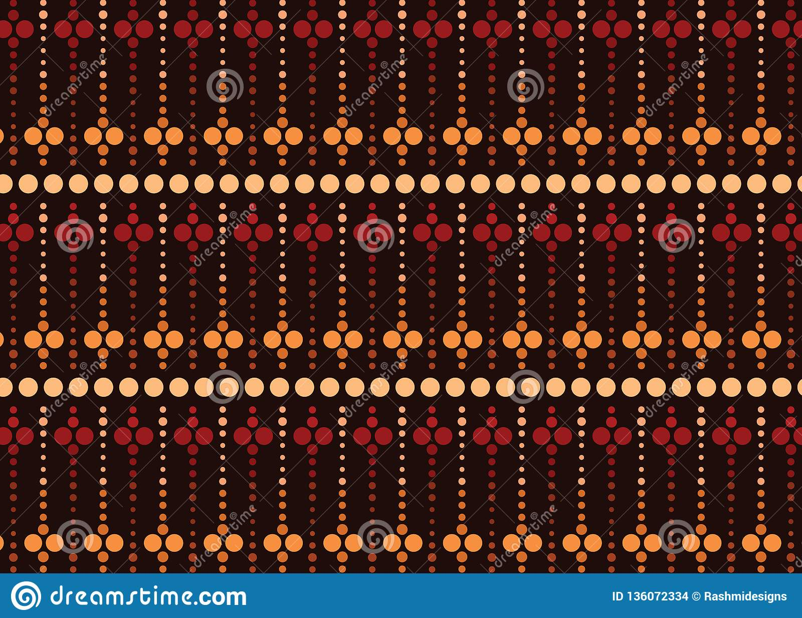 Aboriginal Dot Art Vector Seamless Pattern Stock Vector