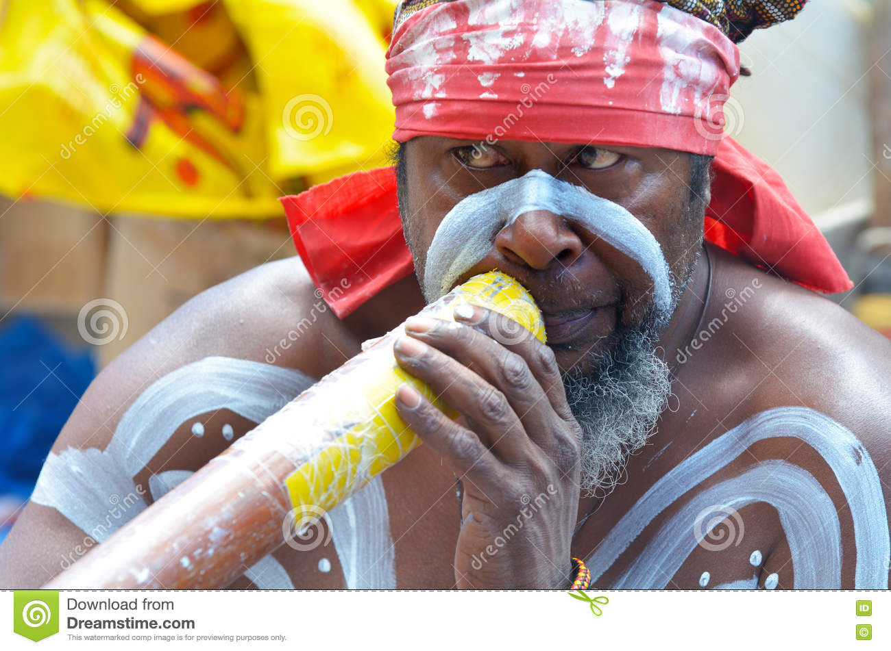 Aboriginal Indigenous Australian man play on Didgeridoo in Sydne