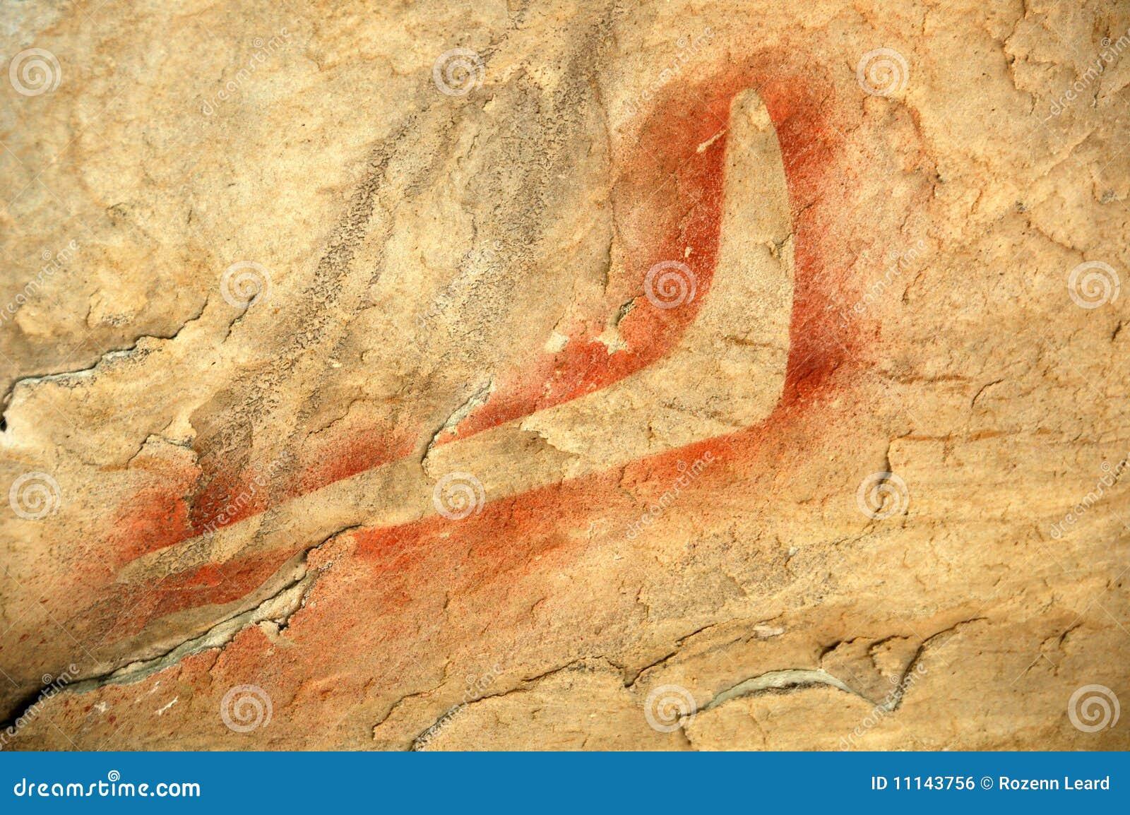 Aboriginal Rock Painting, Boomerang Stock Photo - Image of desert ...