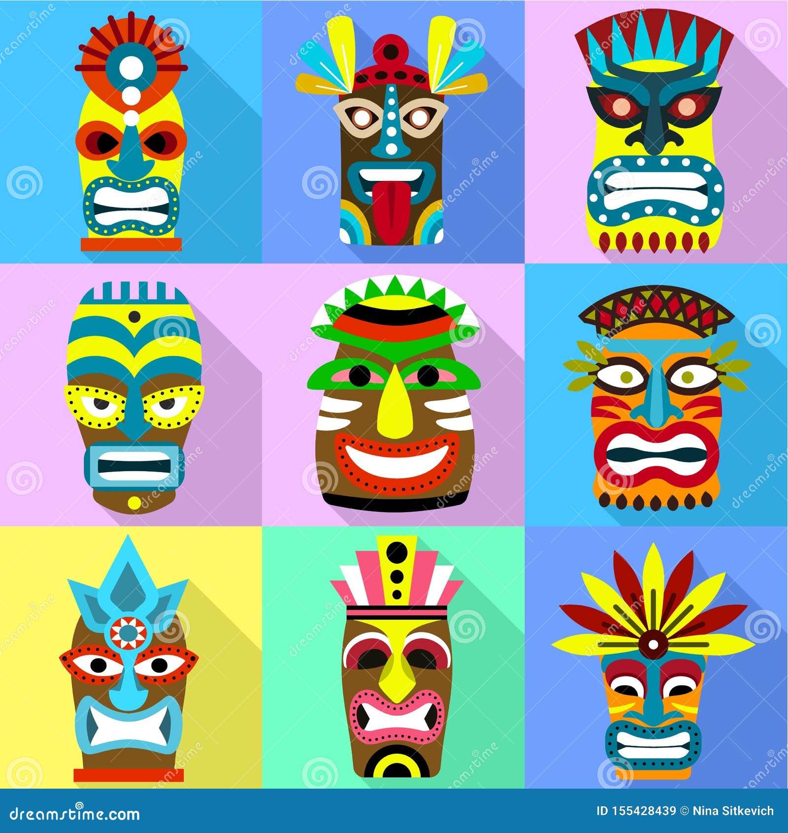 Aborygen ikony maskowy set, mieszkanie styl
