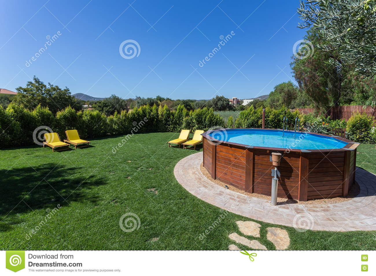 Above Ground Pool Sets On A Concrete Pad Stock Photo Image Of Light Landscape 72674100