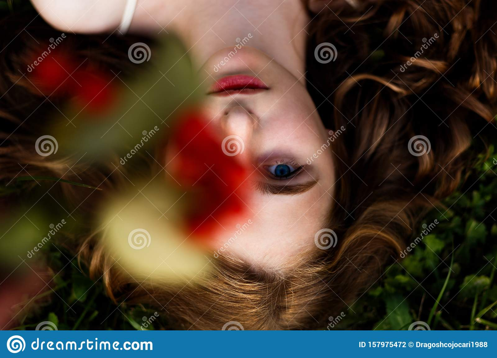 Above Image Of A Pretty Girl With Red Curly Hair And Blue Eyes Looking At Camera Artistic Concept For Autumn