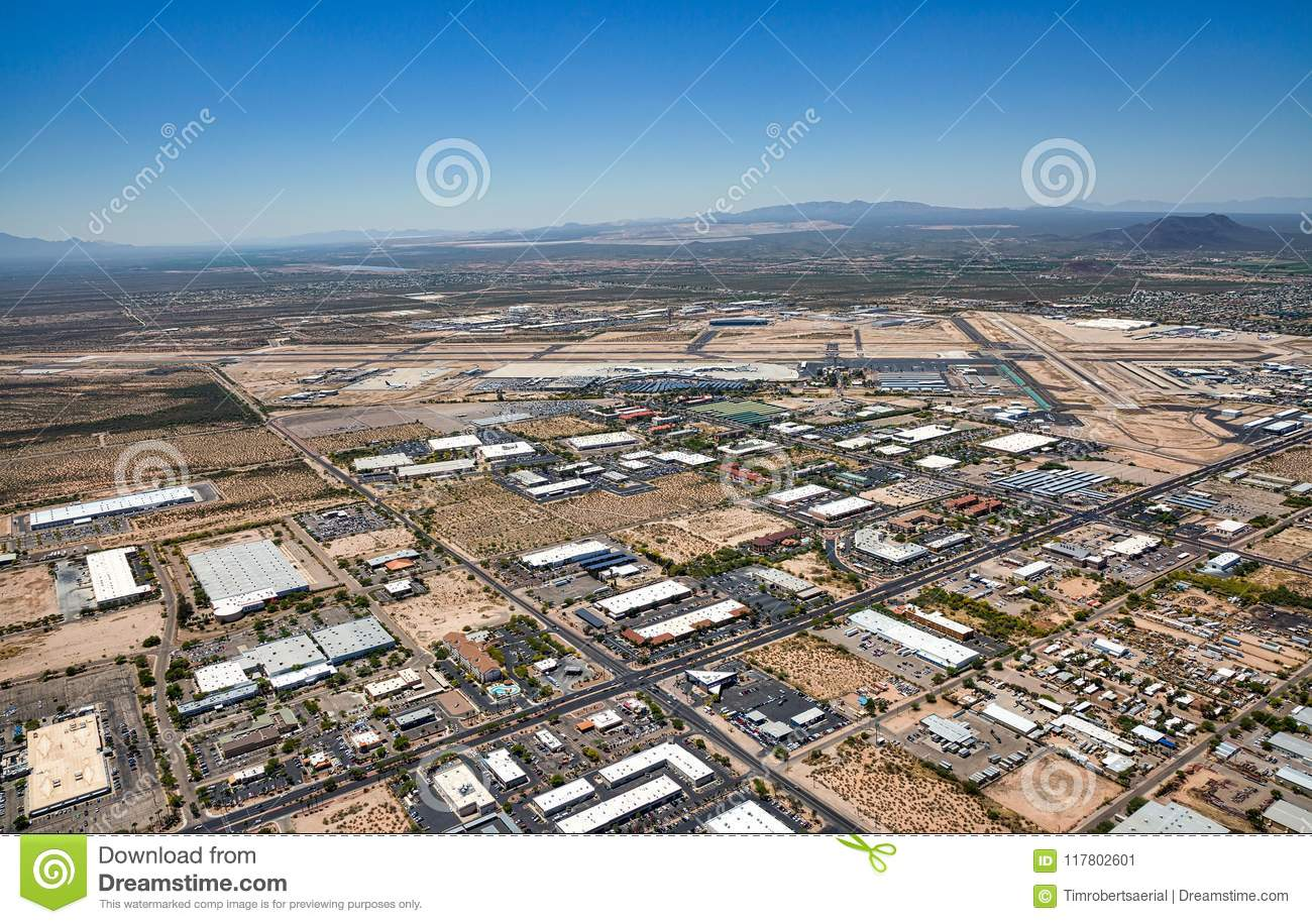 Above South Tucson, Arizona looking to the southwest at the airport and Green Valley