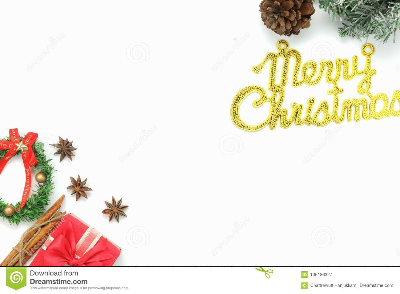 above view aerial image of ornaments decorations merry christmas happy new year conceptessential accessories on white background - Essential Christmas Decorations