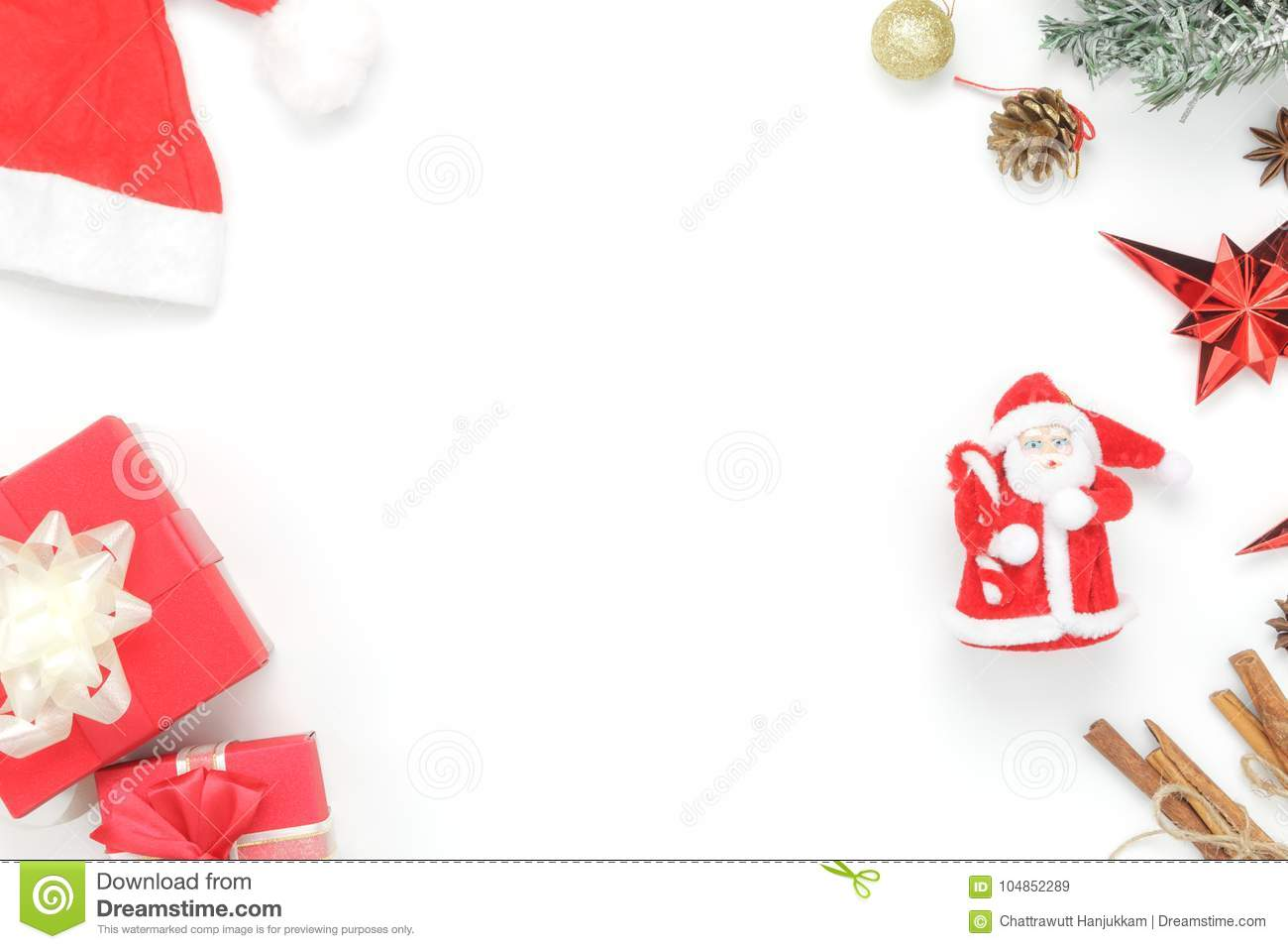 above view aerial image of ornaments decorations merry christmas happy new year concept - Essential Christmas Decorations