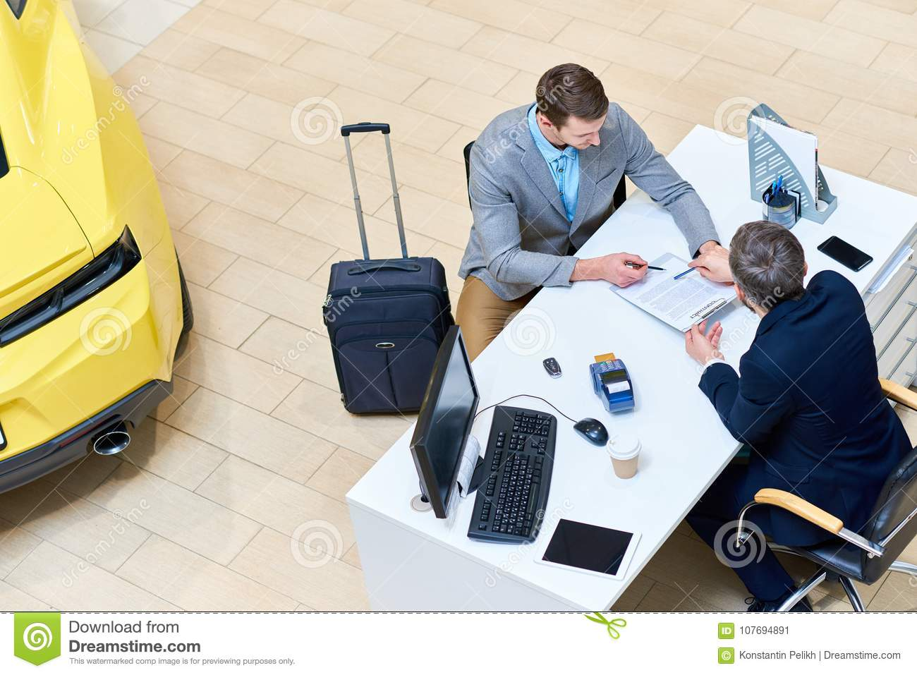 businessman signing car lease agreement stock image image of
