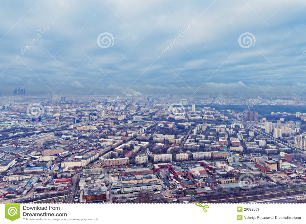 Above view Moscow cityscape in autumn