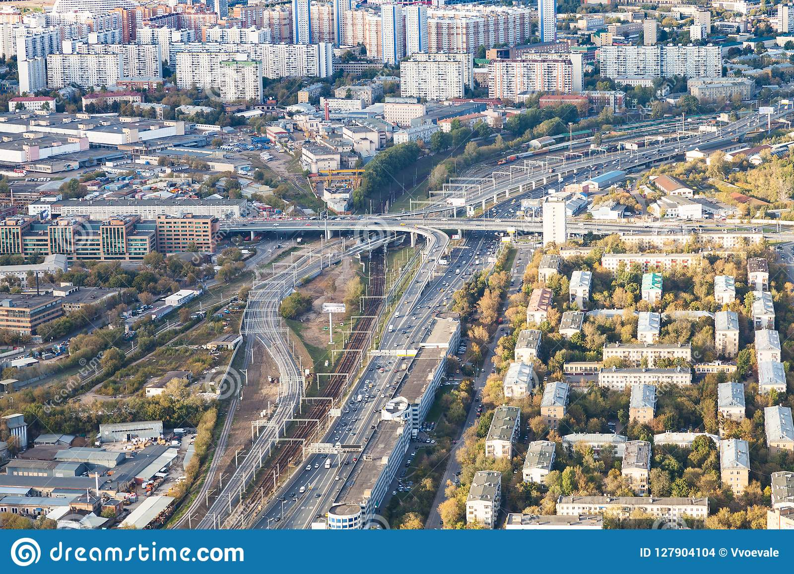 Above view of roads and railways in Moscow city
