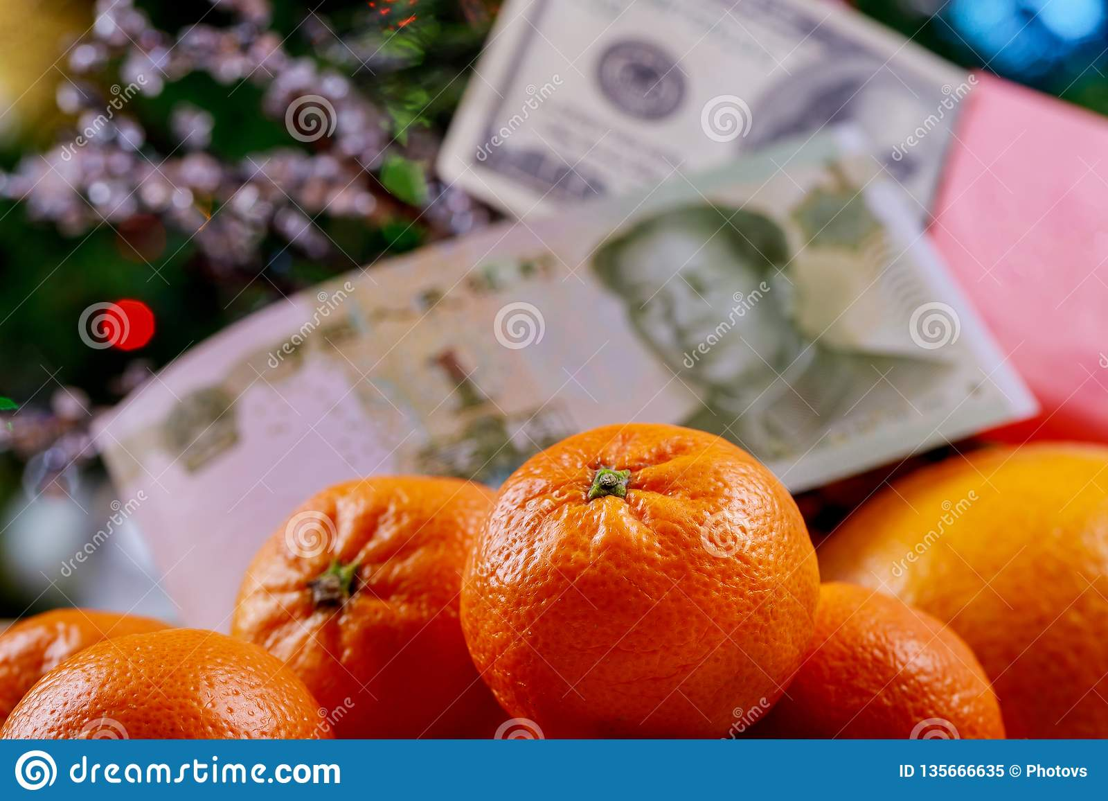 View shot of accessories Chinese new year festival concept on modern background Chinese currency yuan and U.S. dollars
