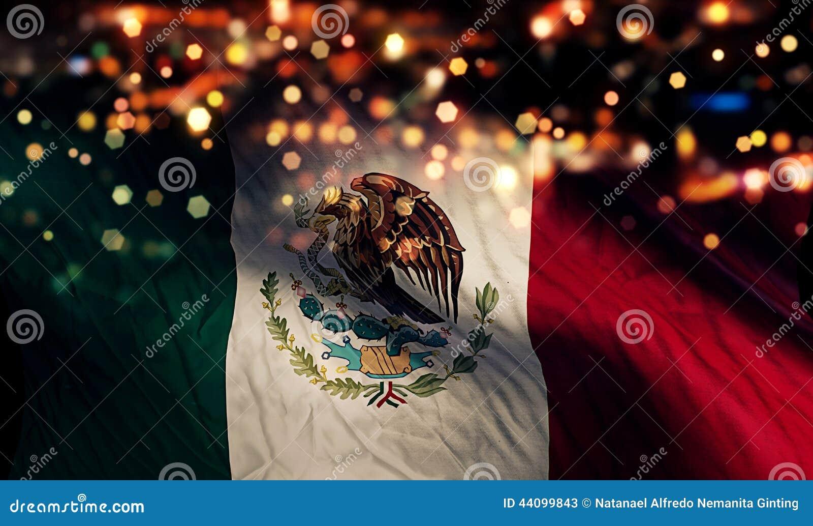 Abrégé sur Bokeh de nuit de lumière de drapeau national du Mexique