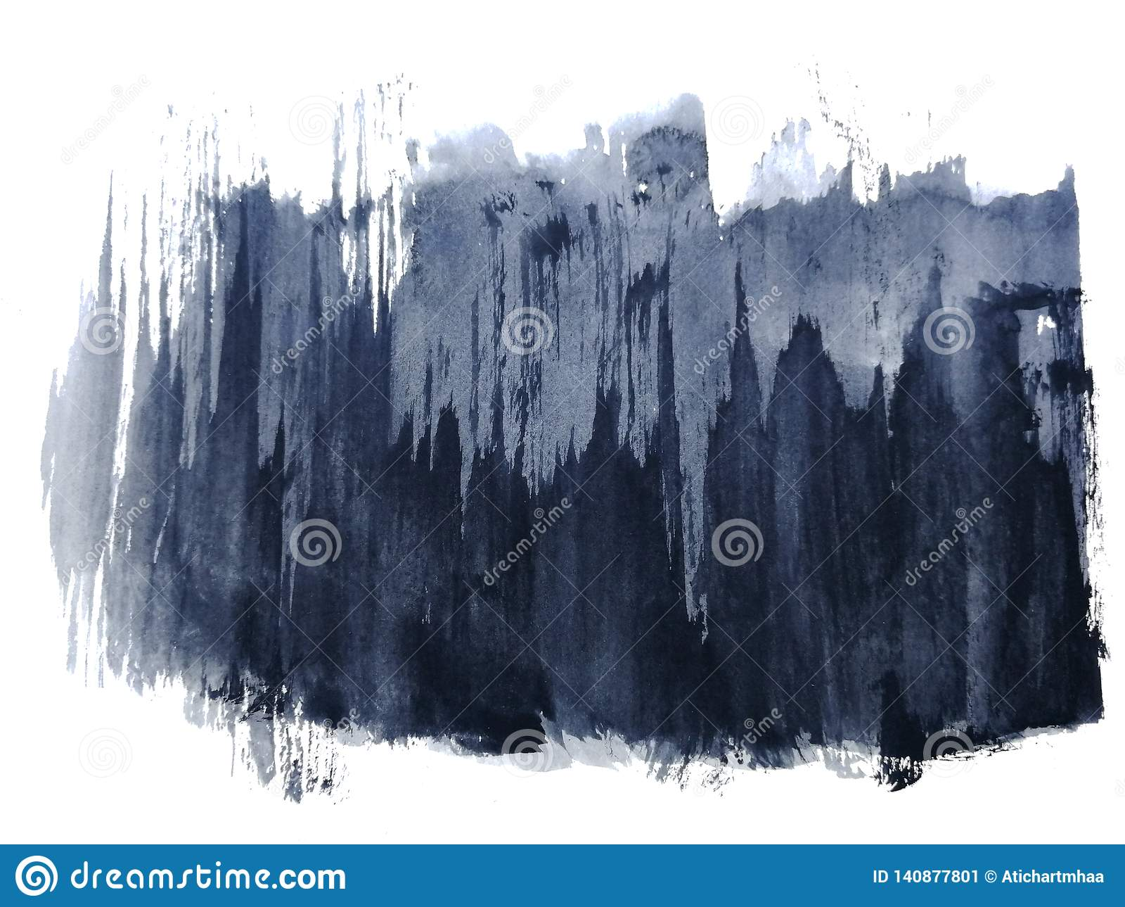 Abrégé sur noir d aquarelle tiré par la main Fond blanc d isolement Mouillez sur le style humide