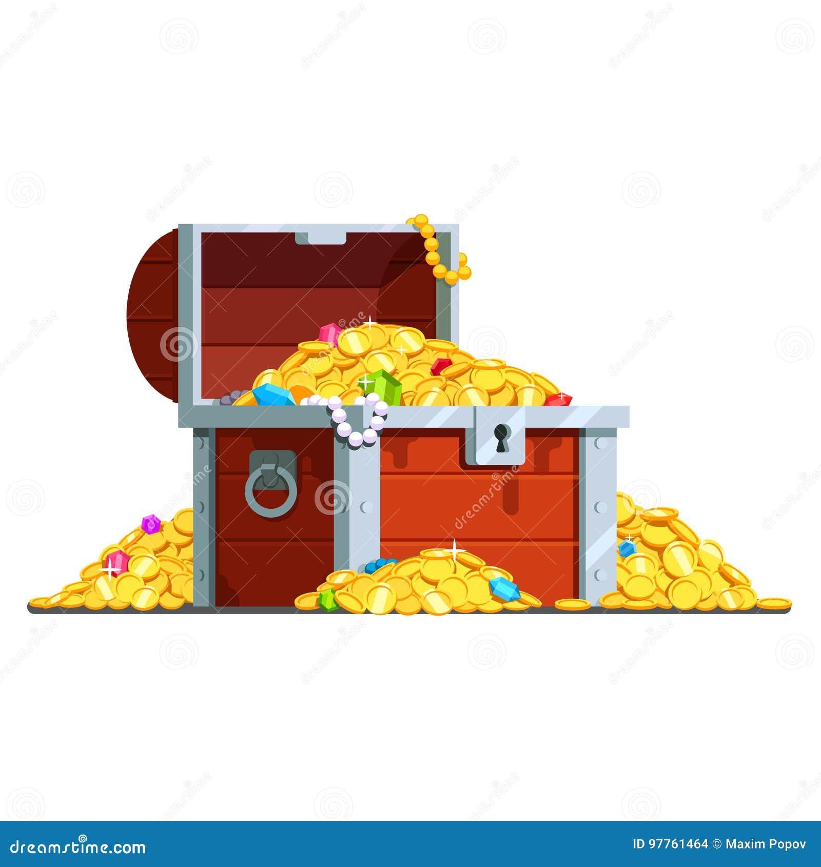 Abra a arca do tesouro do pirata completamente de moedas de ouro