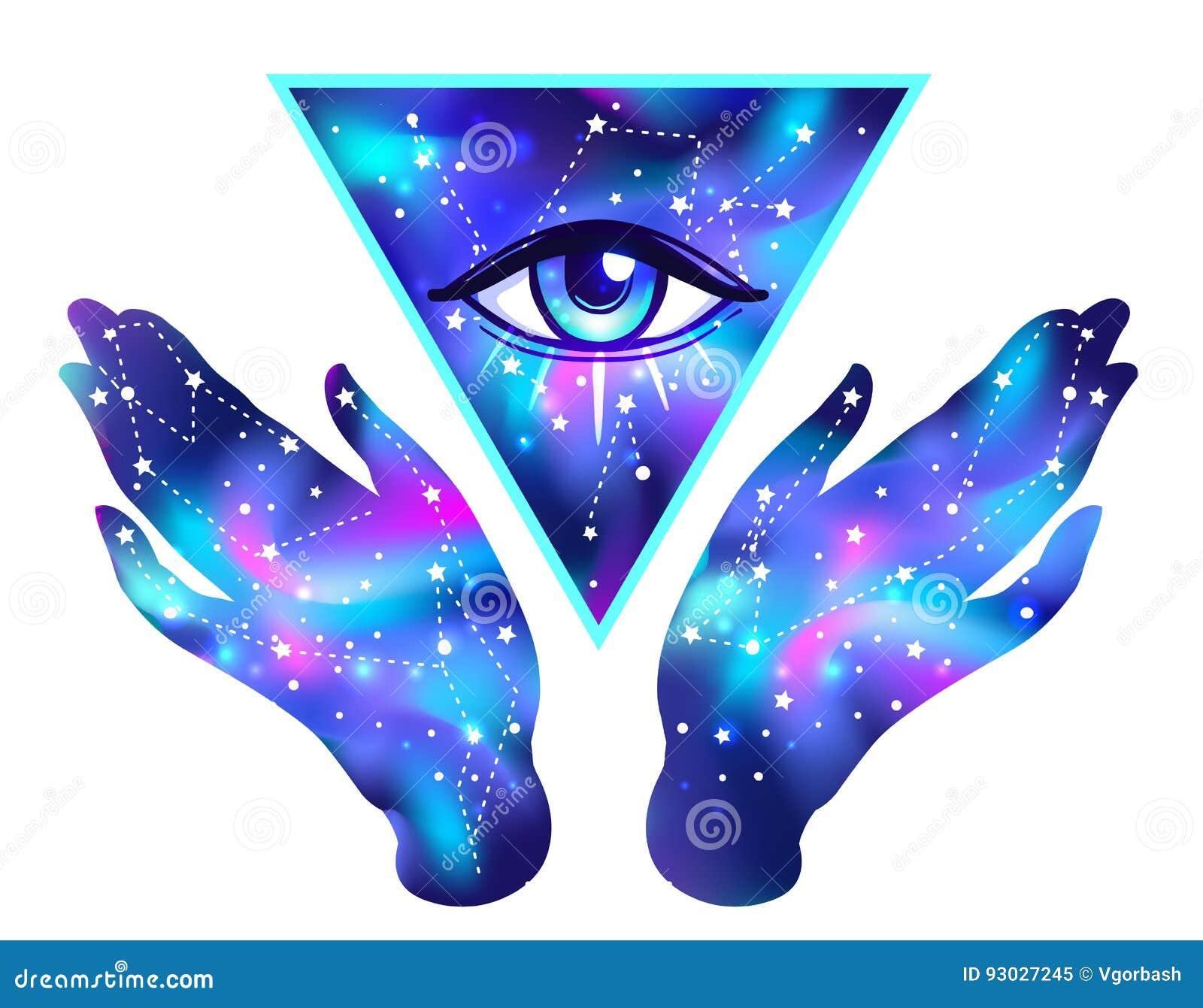 Abra as mãos com o interior da galáxia aberto em torno do símbolo maçônico Wo novo