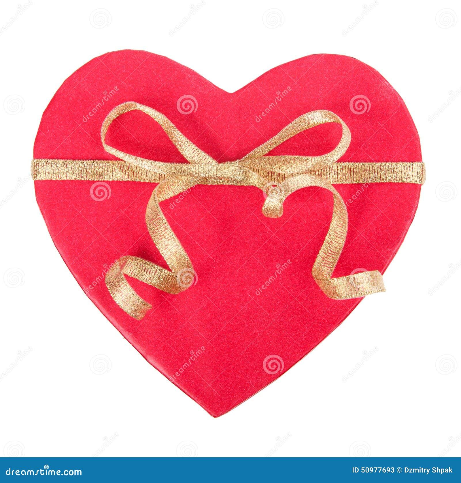 Abra a caixa de presente na forma do coração com curva