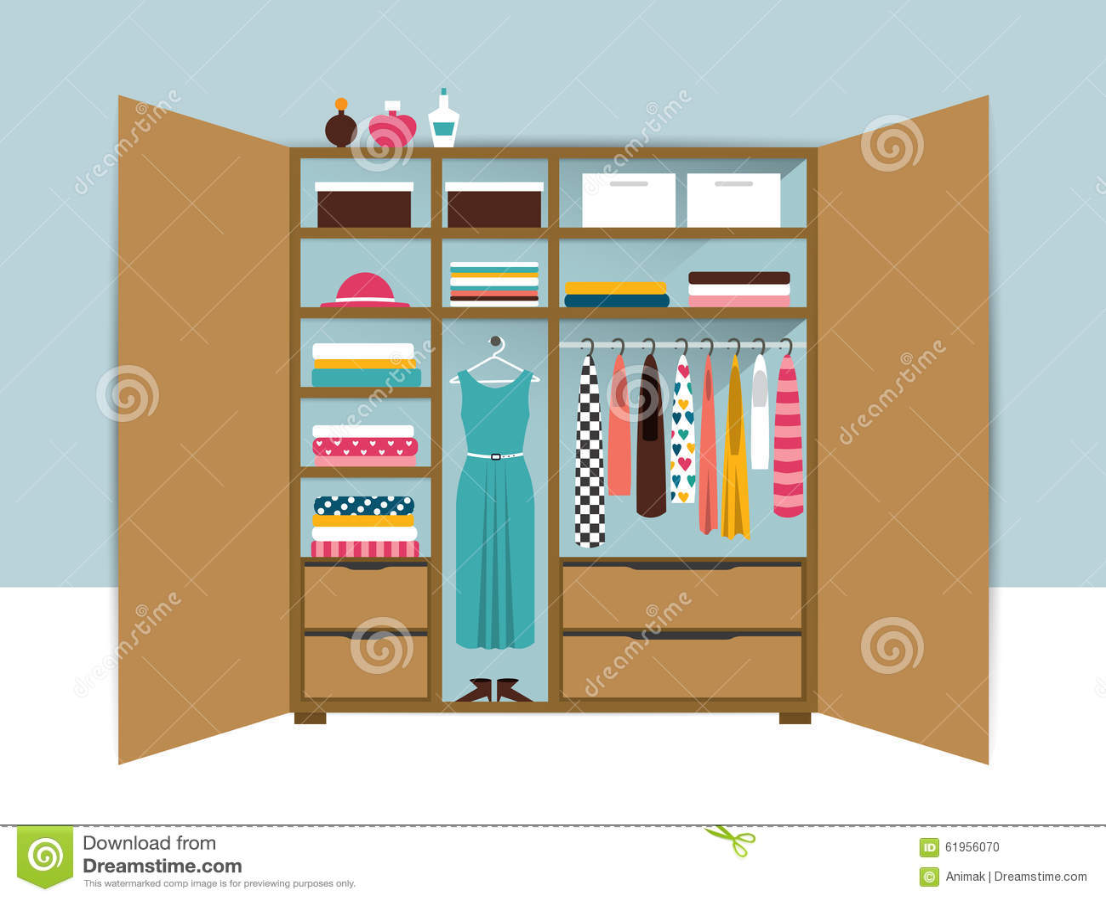 Abra el guardarropa Armario de madera con ropa, camisas, suéteres, cajas y zapatos ordenados Interior casero