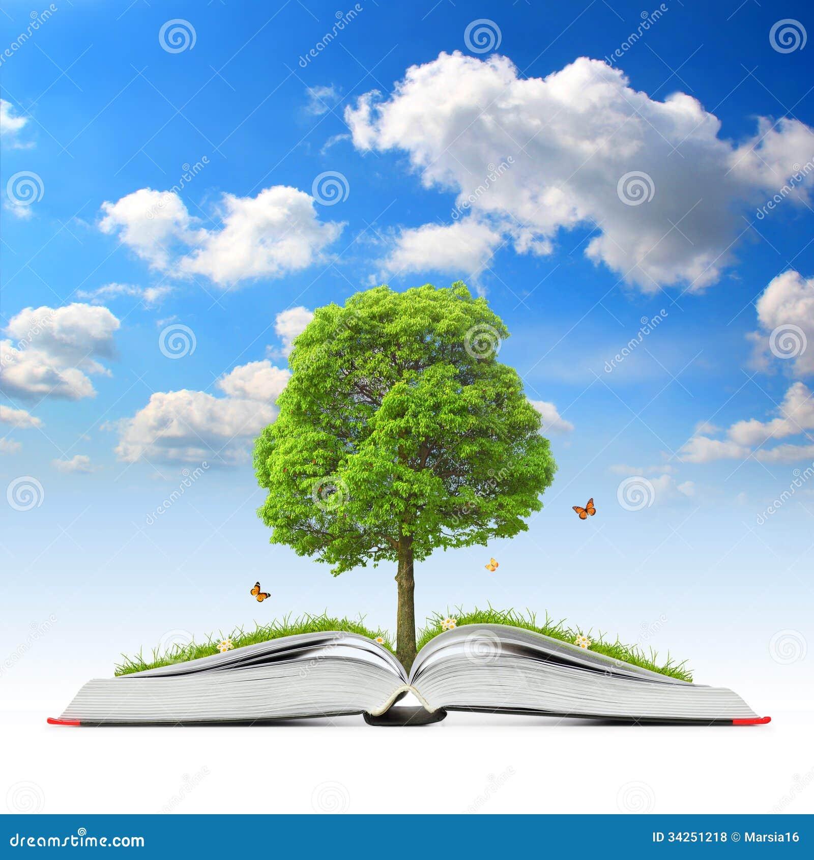 Abra el libro con el árbol y la hierba