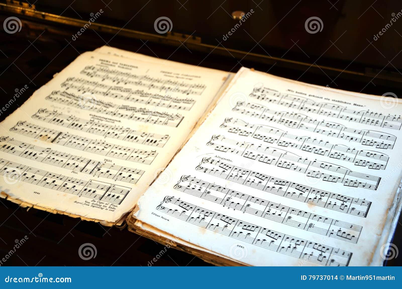 Abra el libro viejo grande de la canción de la música en la tabla