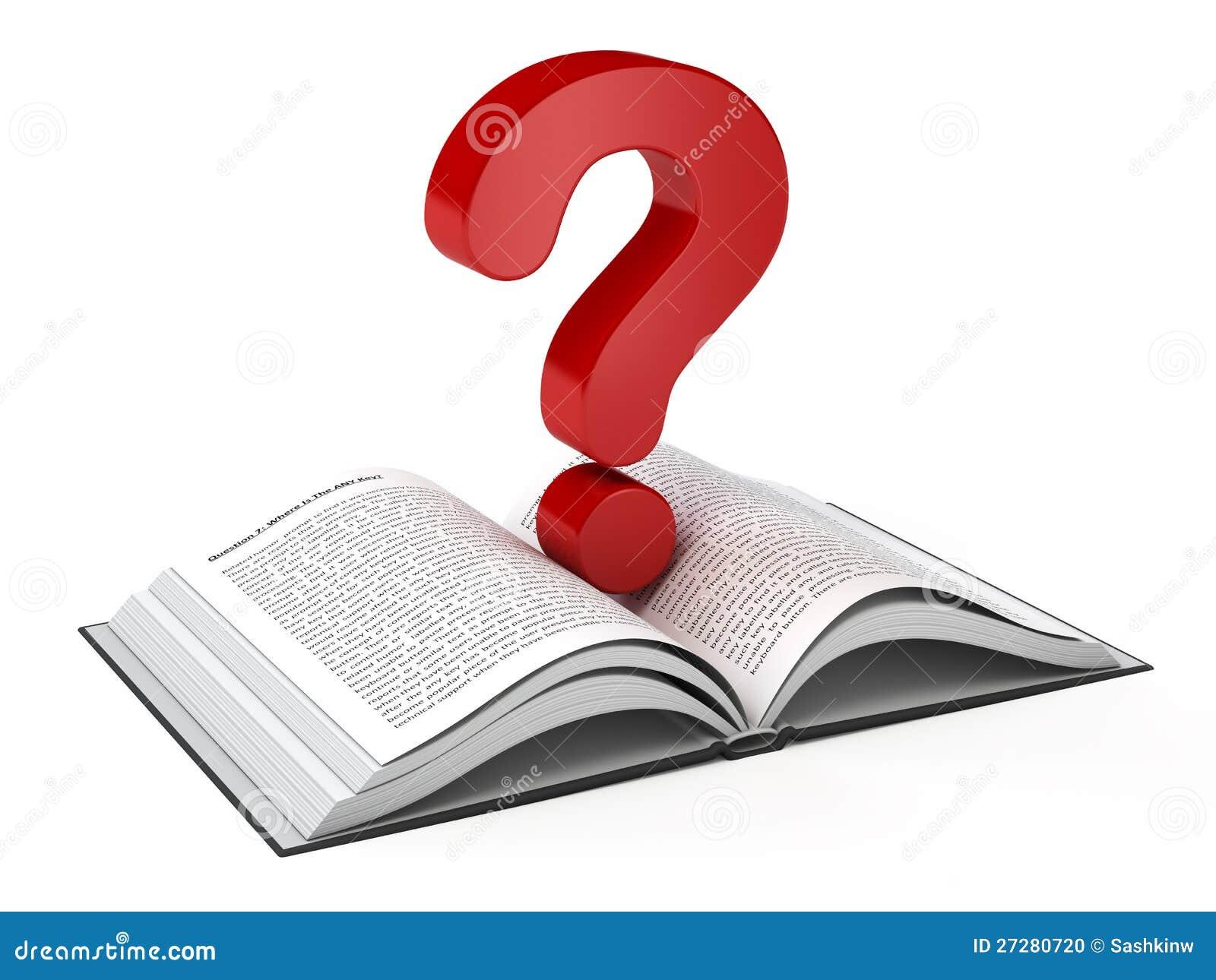 Abra El Libro Y Un Signo De Interrogación Stock de ilustración ...