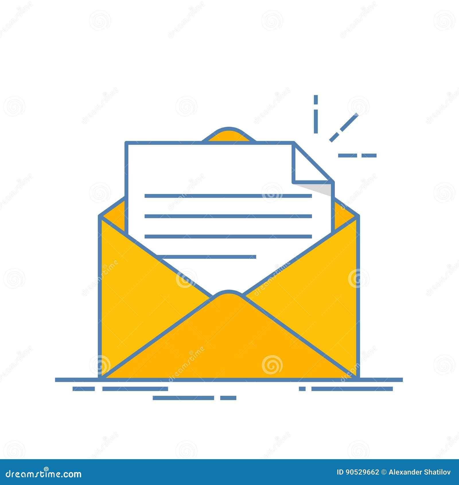 Abra el sobre con un documento Nueva carta Envío de correspondencia Línea ejemplo plana aislado en el fondo blanco
