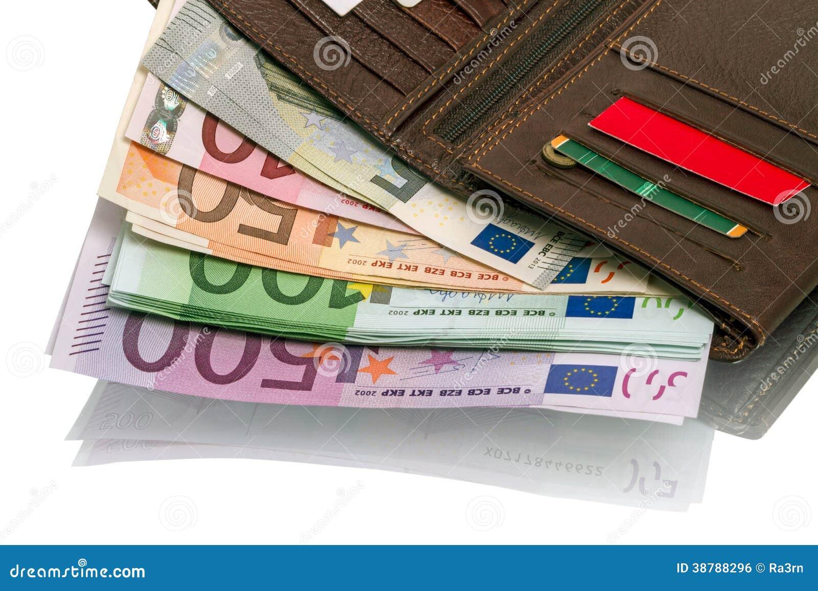 última tecnología rico y magnífico tienda oficial Abra La Cartera Con Los Billetes De Banco Euro Foto de ...