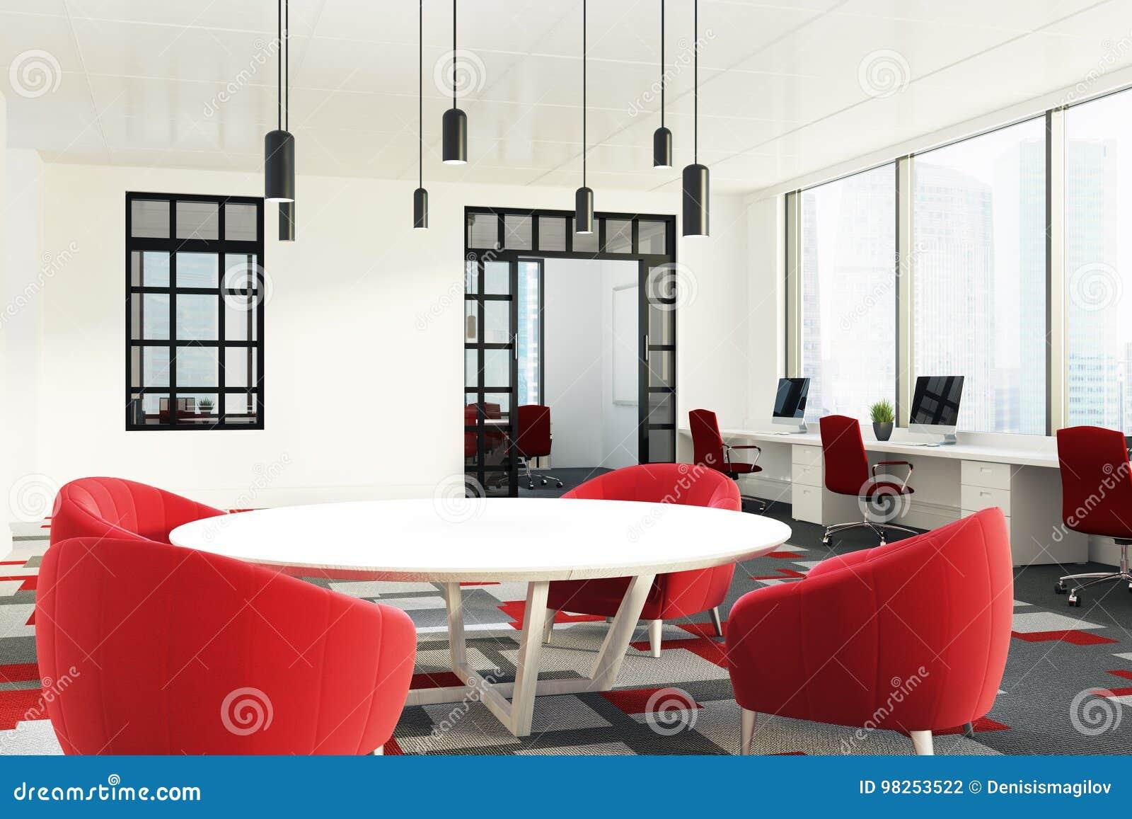 Las De La Stock Con Sillas Mesas Y Redondas Rojas Oficina Abra kZPXiu