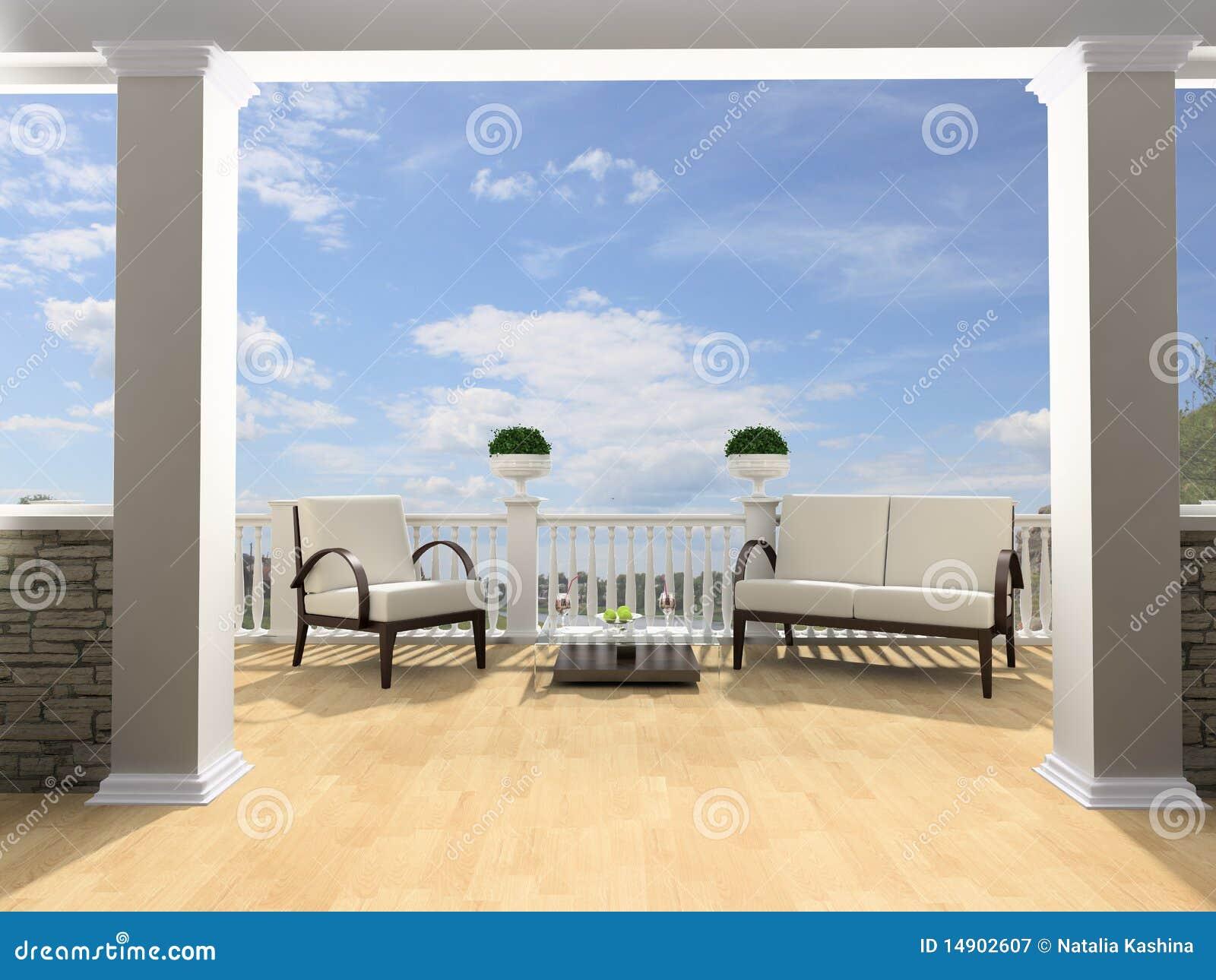 Abra La Terraza Stock De Ilustración Ilustración De