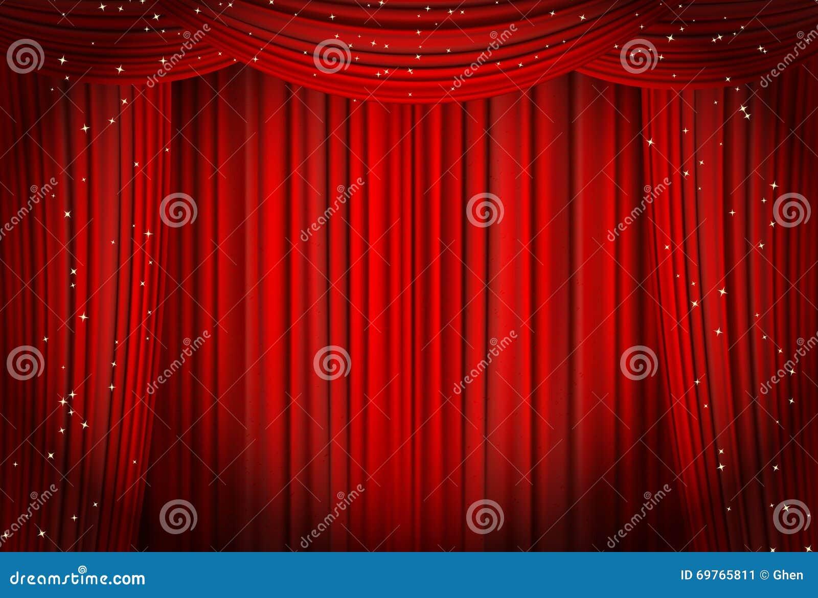 abra las cortinas rojas con pera del brillo o el fondo del teatro ilustracin del vector